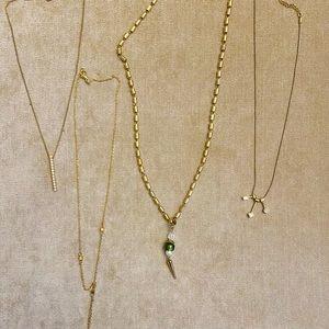 4 vintage gold diamond necklaces 90s Y2K